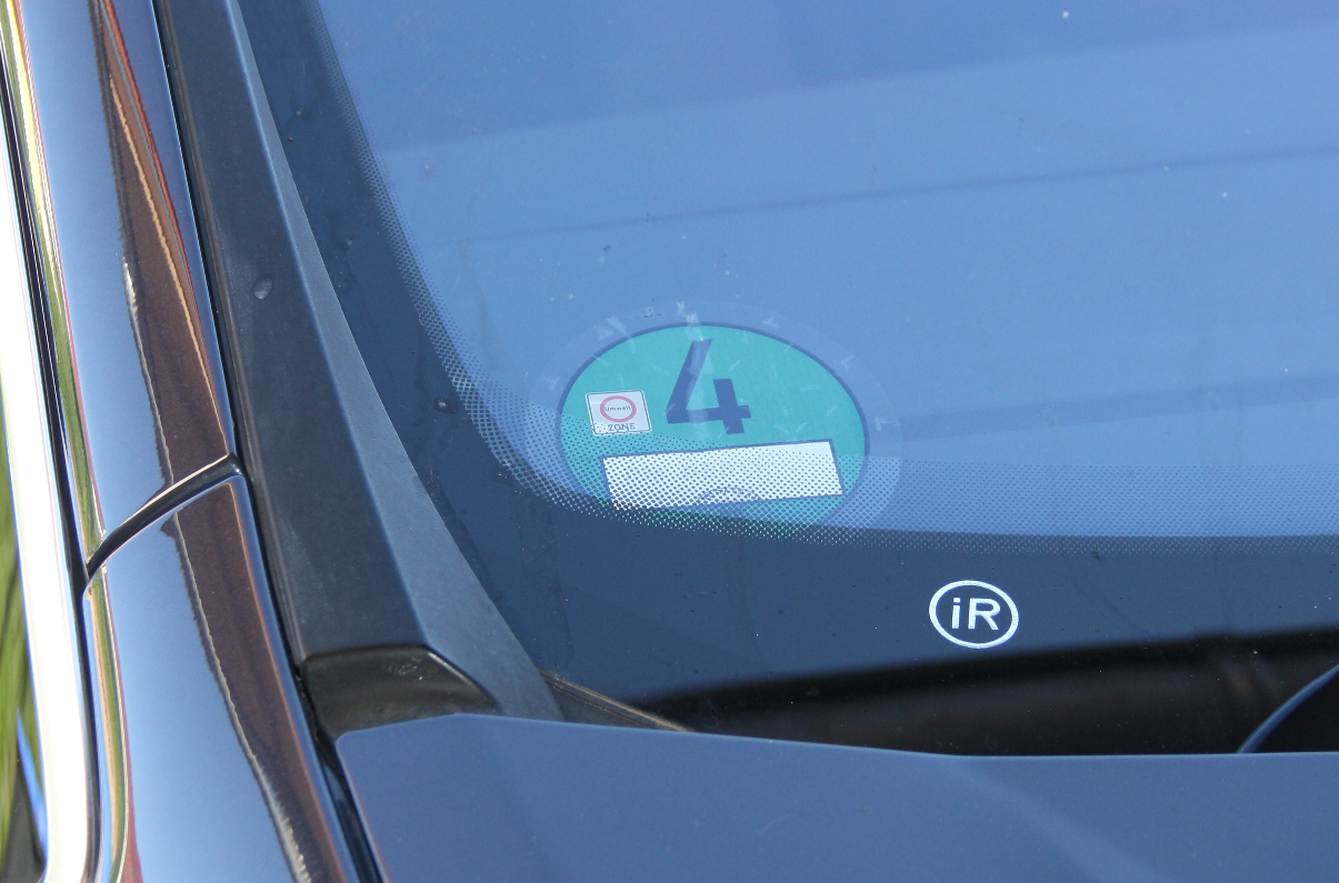 Car with German low emission zone sticker