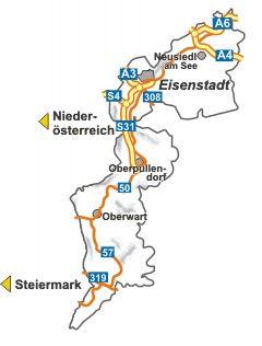 Mapa Burgenland
