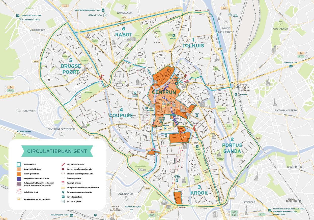 map rheoleiddio mynediad ar gyfer Gent Belgium
