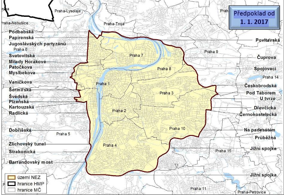 Прага LEZ мапа