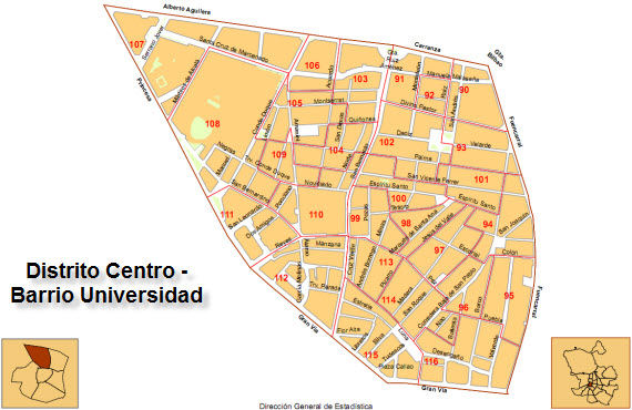 Madrid sarbide murrizketarik regualtion mapa Universidad