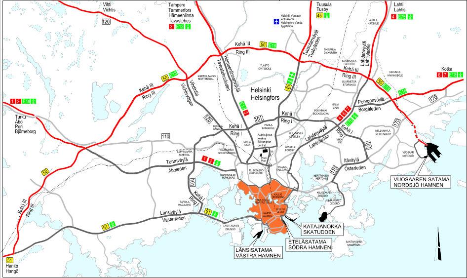 Helsinki zemljevid težka vozila
