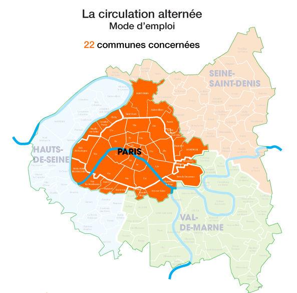 Parijs Frankrijk even en oneven schema kaart