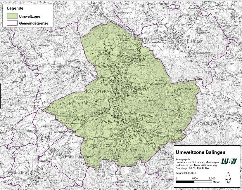 Map Balingen Baden Württemberg Yr Almaen LEZ