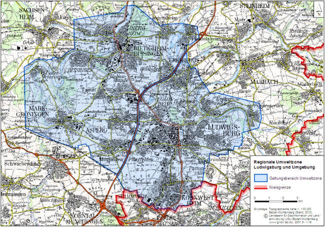 Ludwigsburg a oblasť LEZ mapa