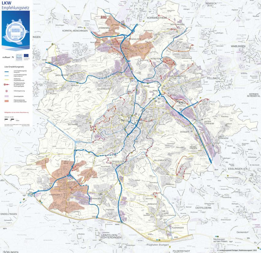 kartta suositeltava raods HGV Stuttgart