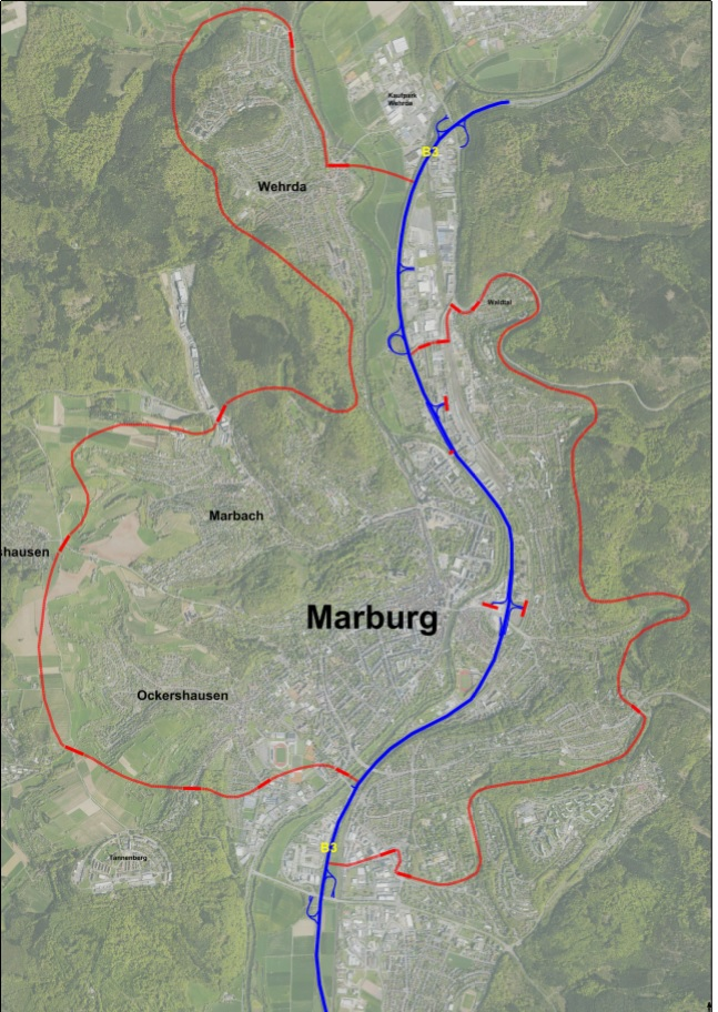 Marburg kort