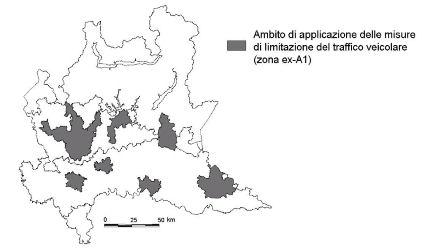 Lombardia wszystkie strefy LEZ mapie