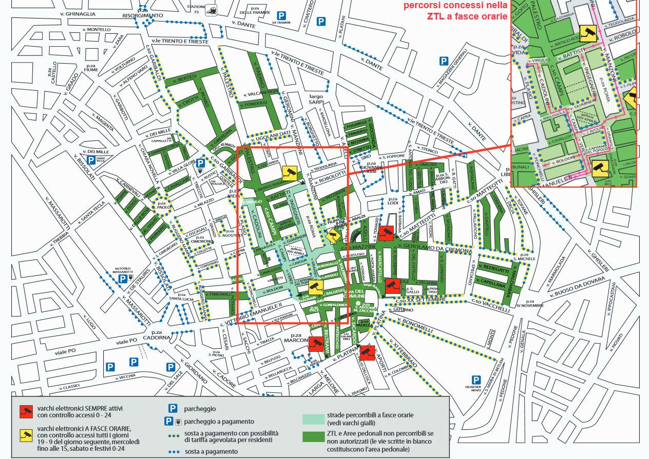 Taliansko Lombardia Cremona ZTL mapa