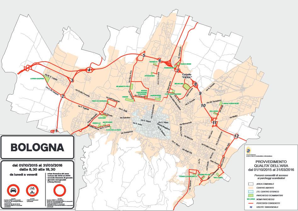 Bologna mapa ZTL