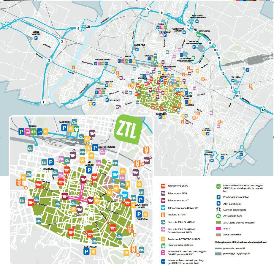 Italija Emilia Romagna karta ureditve dostopa Bolonjske