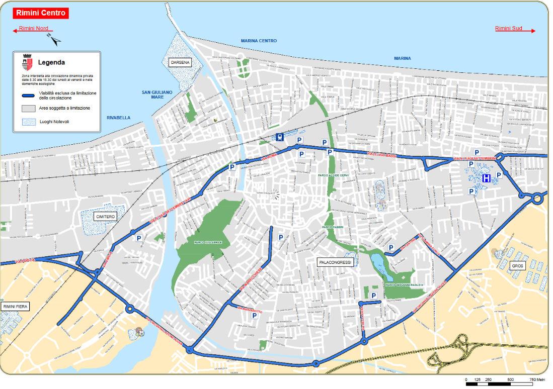Yr Eidal Emilia Romagna Rimini ZTL centro map mynediad lle rheoliad