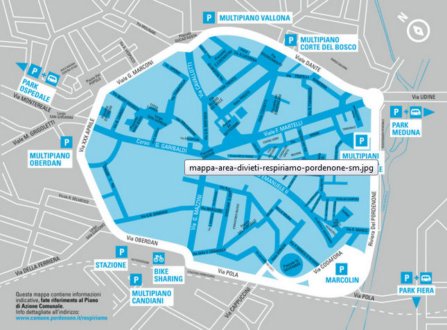 access regulation zone map for Pordenone