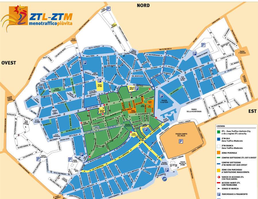 Mapa de Italia Piemonte Asti ZTL