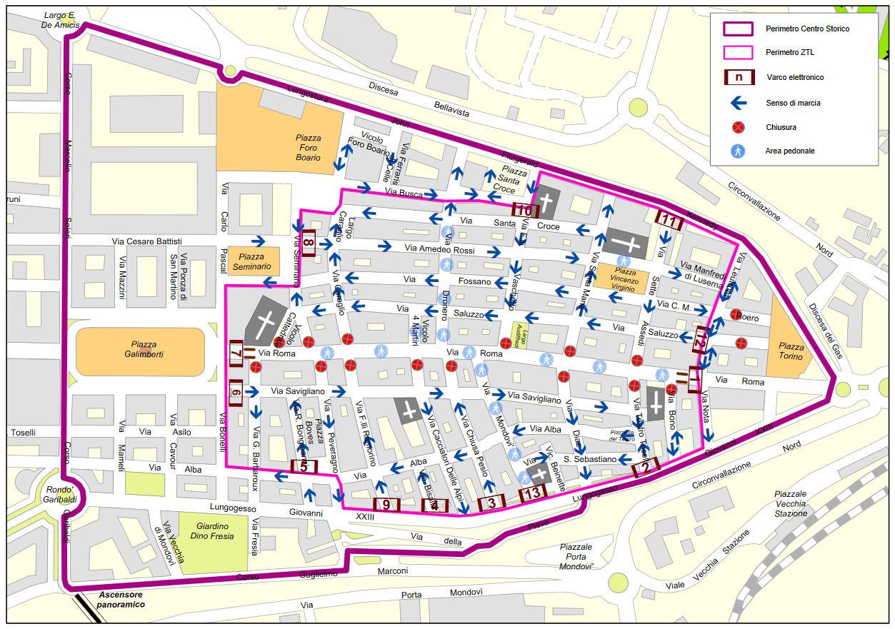 Cueno Piemonte Itālija piekļuves regulēšana karti