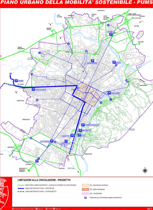 Мапа на Торино за итни случаи шема
