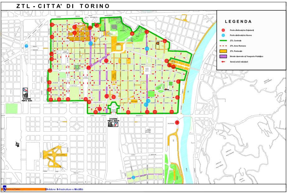 Erişim düzenlemesi ZTL Torino İtalya