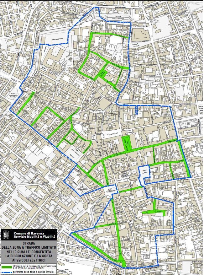 Mapa elektrických vozidel Ravenna