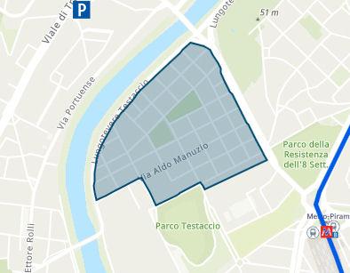 Mapa Włochy ZTL Testaccio Roma
