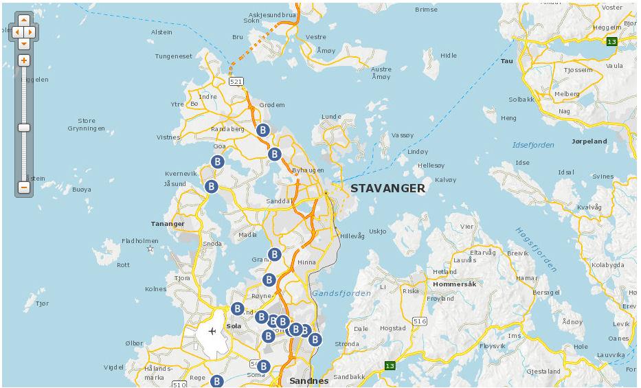 mapa de Stavanger