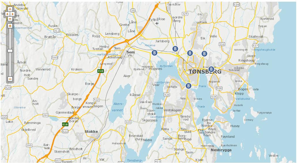 Тонсберг мапа