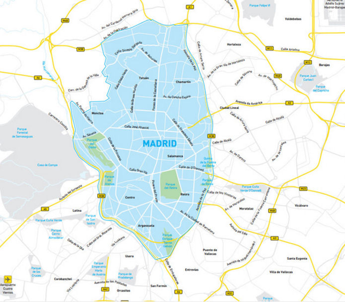 Map of Madrid low emission zone