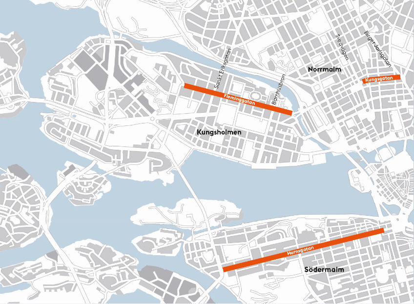 Map for studded tyre ban in Stockholm