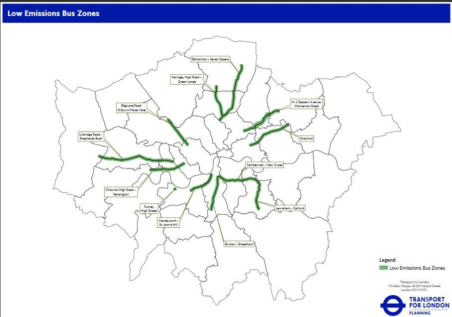 Zones d'autobus à faible taux d'émission de London