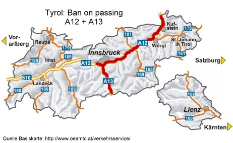map for ban on overtaking A12