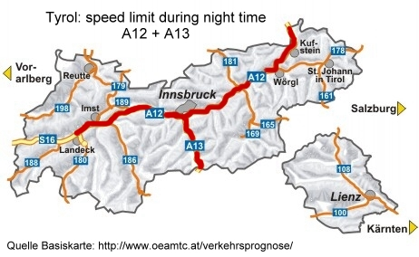 Austria A12 night time speed limit