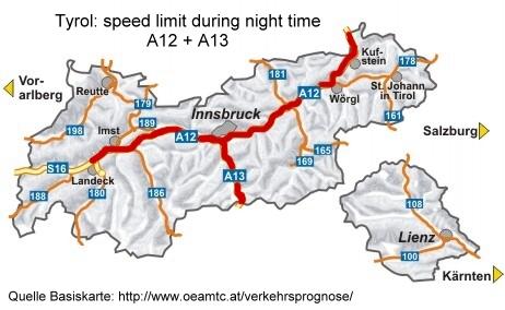 mapa del límite de velocidad de la noche A12