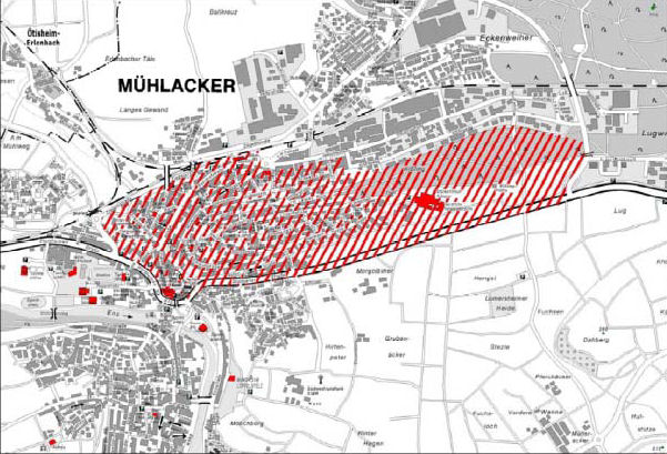 Karta Mühlacker lez