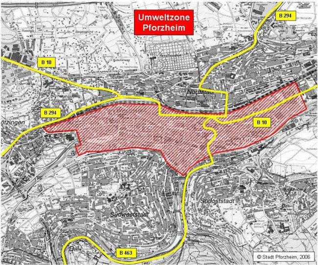 Pforzheim LEZ žemėlapis