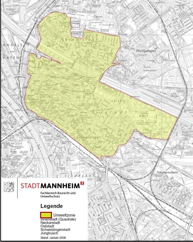 Mapa Mannheim LEZ