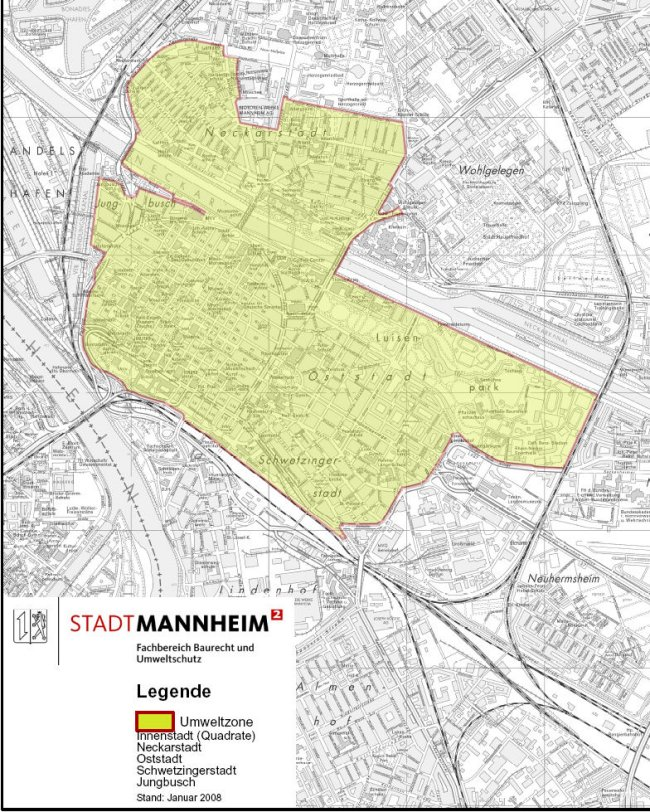 Mannheim LEZ картата