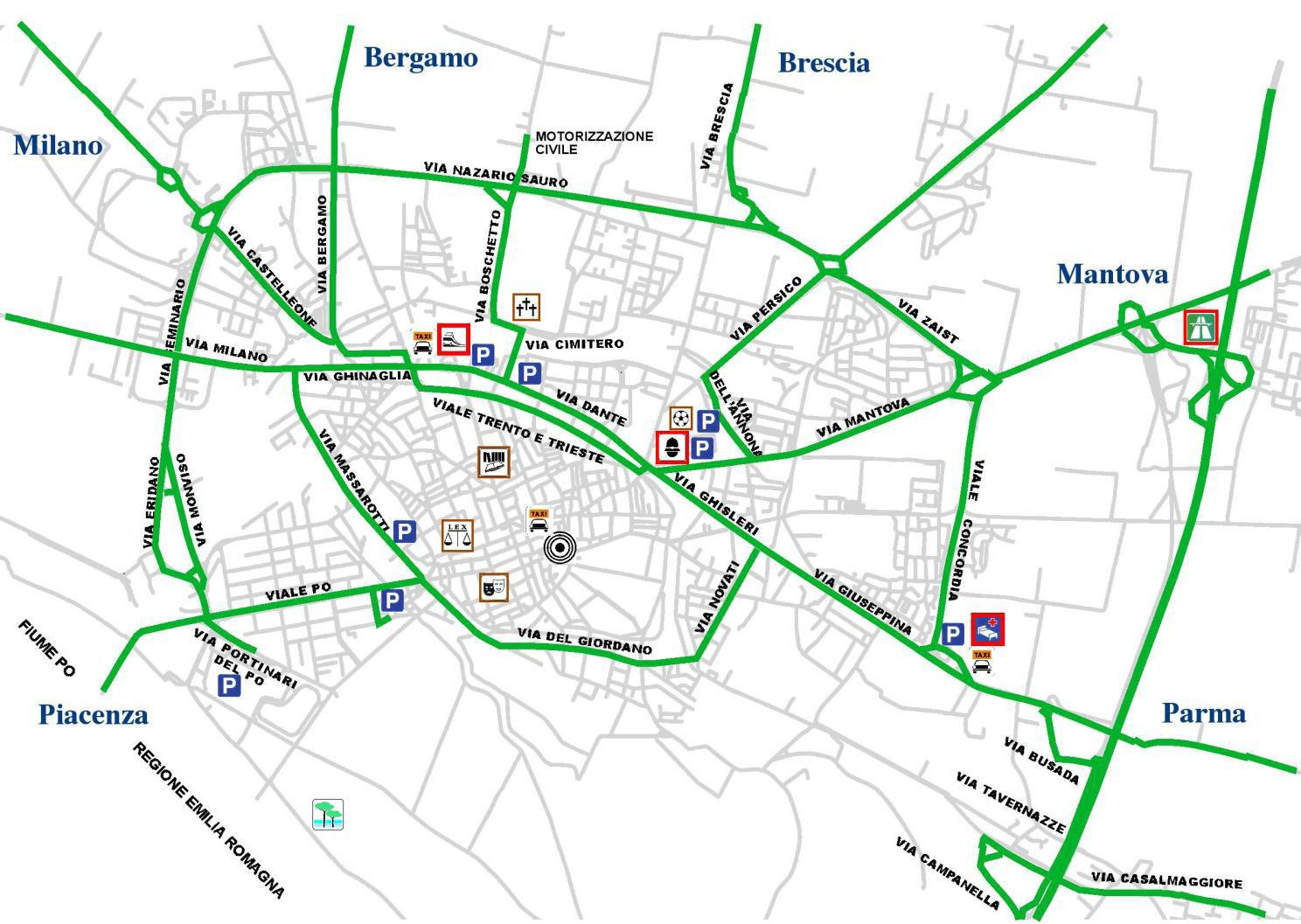 Cremona linna LEZ kaart