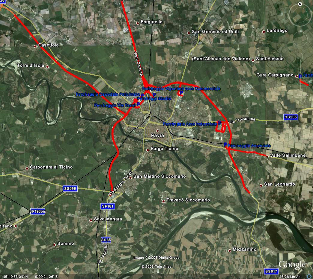 Pavia provinsen LEZ kartet
