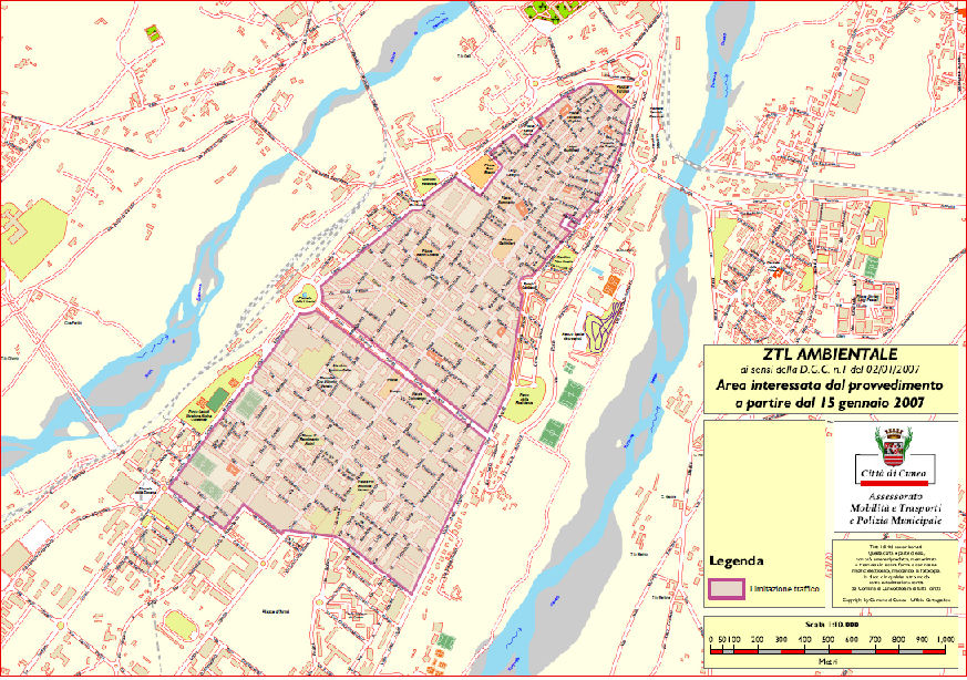 Cuneo LEZ Boundary Karte