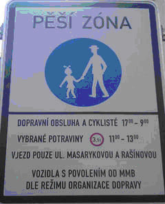 Czech Republic Brno road sign pedestrian zone