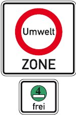 German low emission zone green sticker, umweltzone road sign