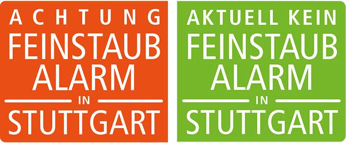 Stuttgart Achtung feinstaub alert kein pollution alarm sign