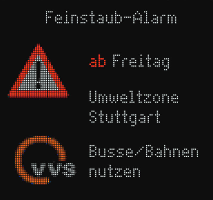 Stuttgart Feinstaub alarm, onesnaževanje opozorilo znak