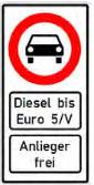 Diesel Ban Road Sign, Германия