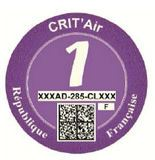 French Crit'Air sticker purple