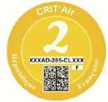 French Crit'Air sticker yellow