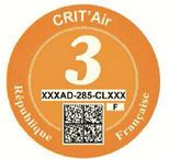 French Crit'Air sticker orange