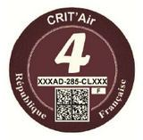 French Crit'Air sticker brun