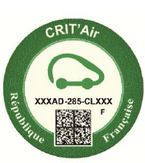 Franse Crit'Air sticker groen
