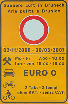 Bolzano Low Emission Zone Road Sign