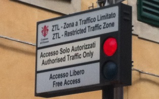 picture restricted traffic zone, zlt, traffic restriction, road sign, in Italy